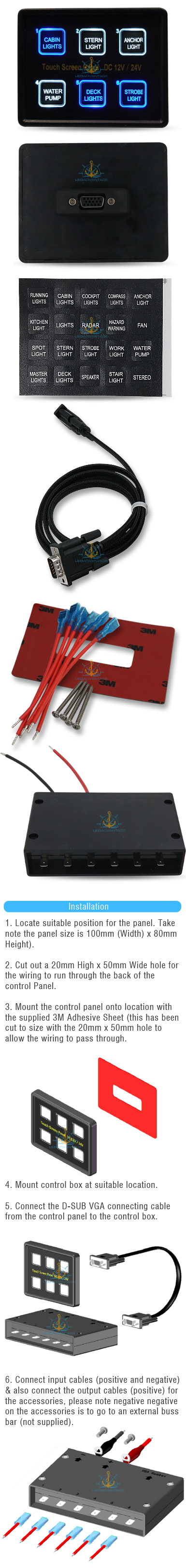 2 X 12v 24v 6 Gang Marine Led Touch Panel Control C Breaker Boat Wiring Diagram Also Light Switch As Well Trailer Lights Introducing Our Newest And Most Innovative With Backlighting